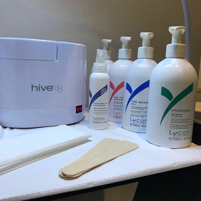 Lycon wax on display in a beauty room at Live True London Vauxhall and Nine Elms
