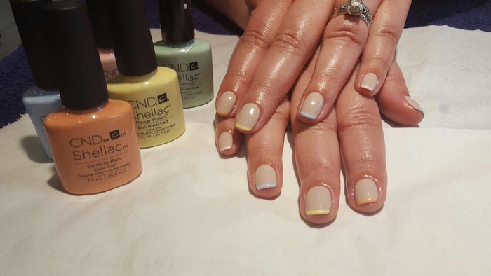 french manicure at vauxhall with pastel coloured tips