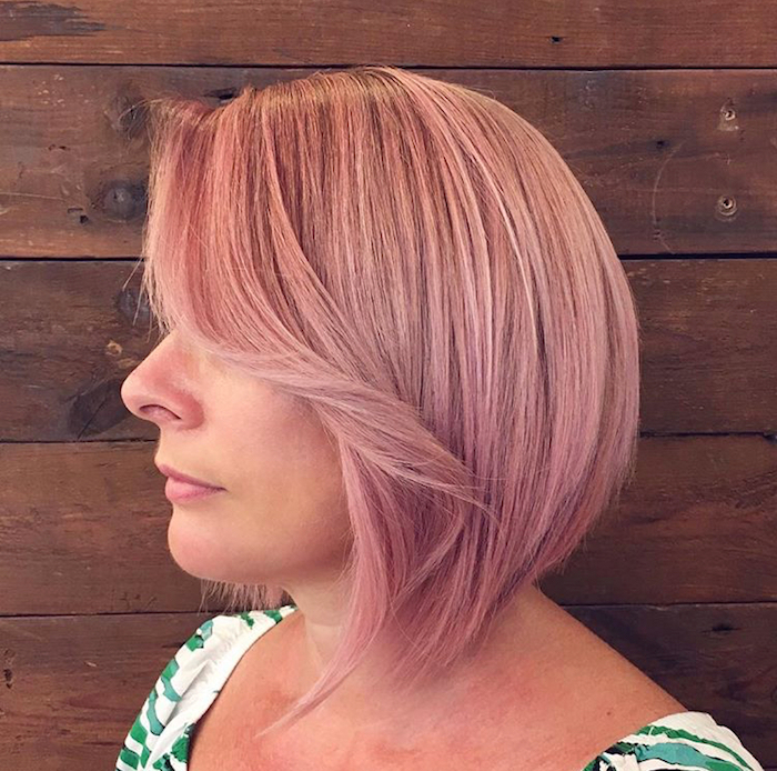 Pink bob hair style with fringe at Live True London Clapham