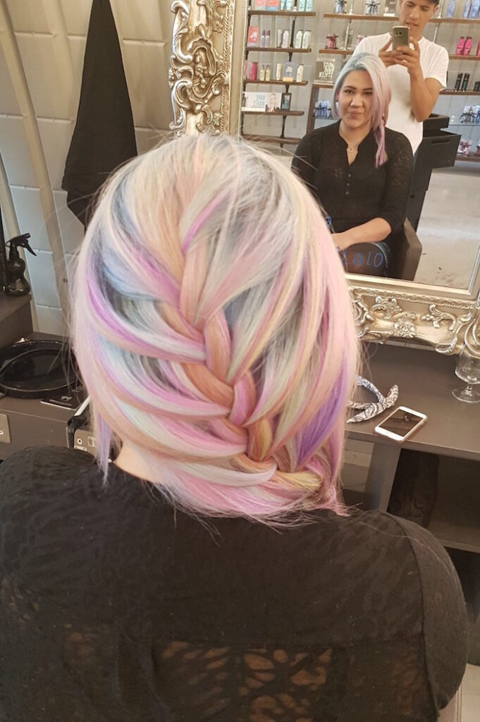 Pastel braid at Live True London Clapham hair salon