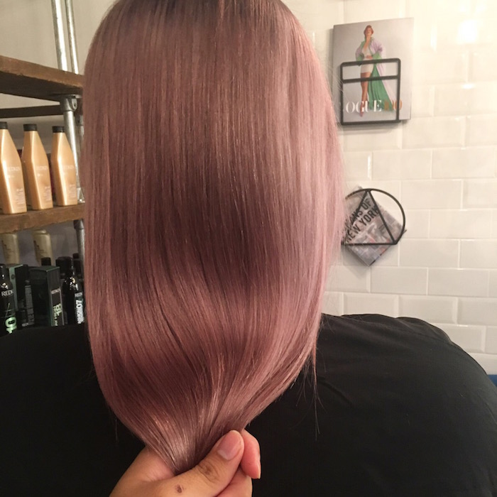 Sleek straight rose brown hair at the Brixton salon