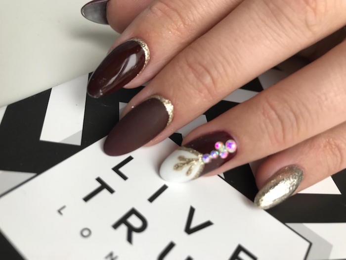 nail art with gems at Live True London Vauxhall and Nine Elms beauty salon