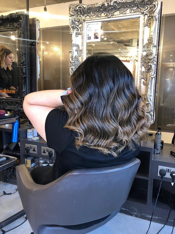 Hair salon in Vauxhall and Nine Elms, brown balayage with wavy blow dry