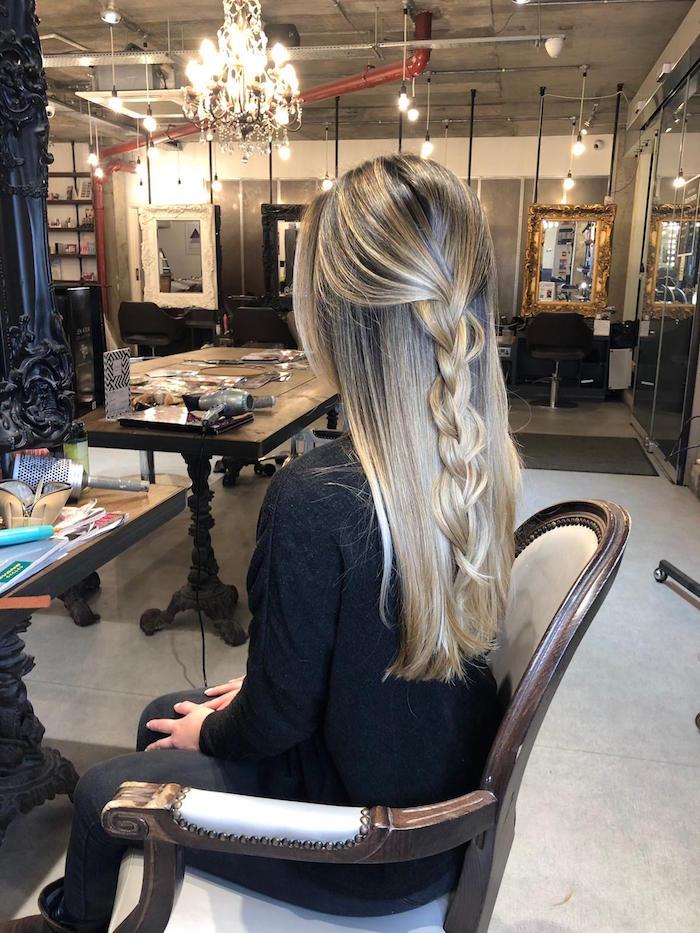 natural looking balayage at london hair salon with braid