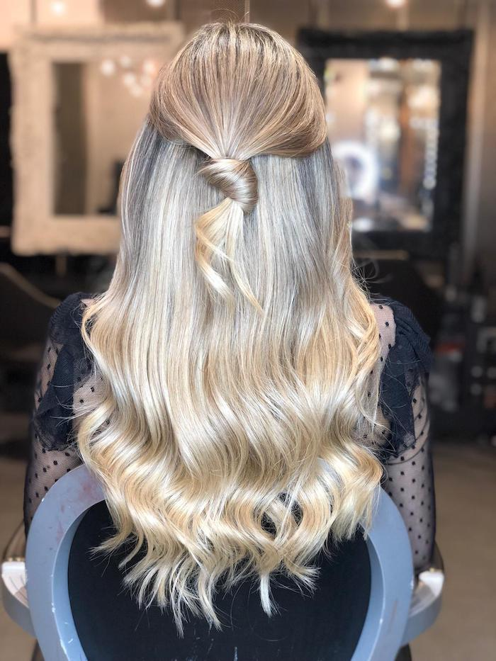 Blonde balayage with tie at a London hair salon in Vauxhall and Nine Elms