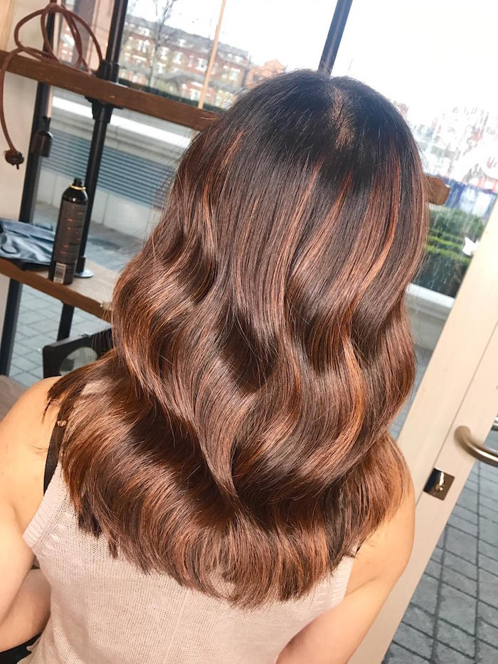 Copper balayage at London hair salon in Vauxhall and Nine Elms