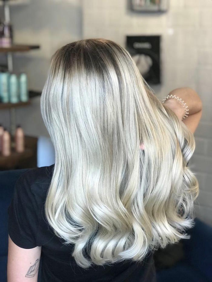 Platinum blonde balayage at the Brixton hair salon in London