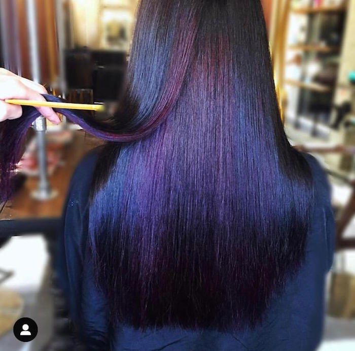 Purple hair at hair salon in Vauxhall and Nine Elms