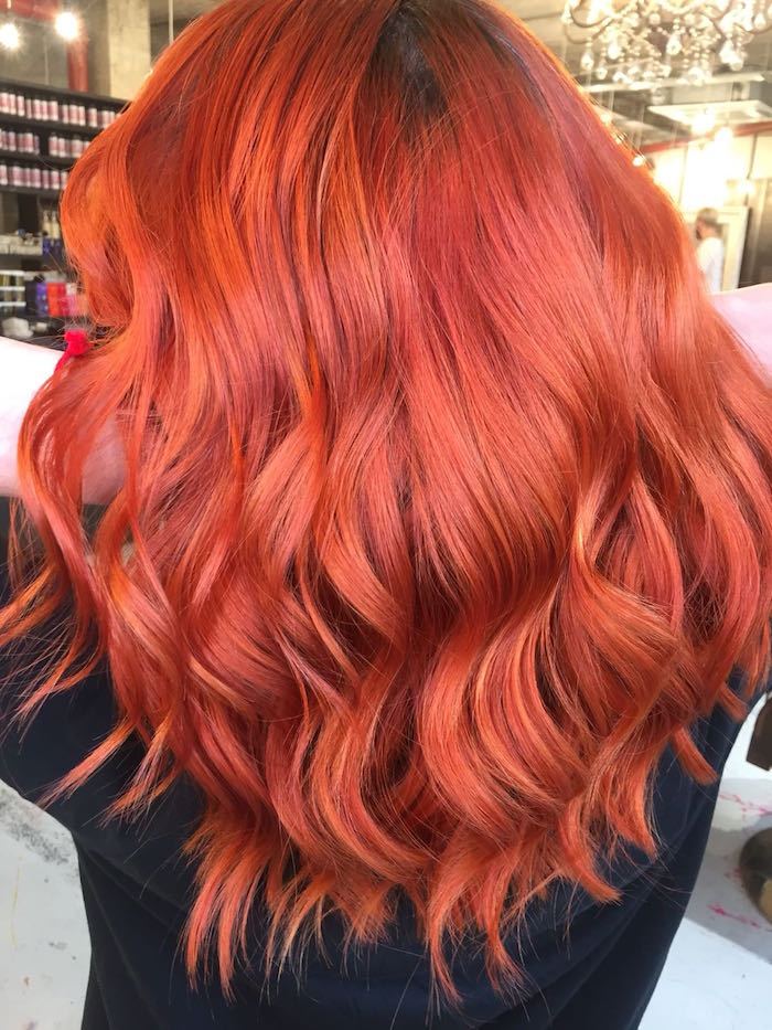 Copper wavy hair in London hair salon