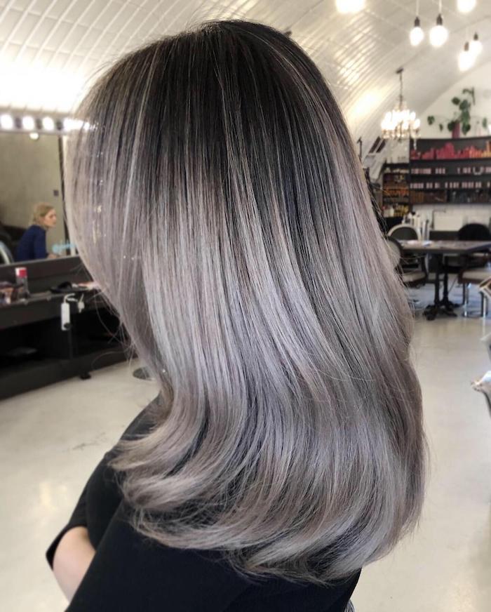 Ash silver balayage at the Clapham hair salon in London