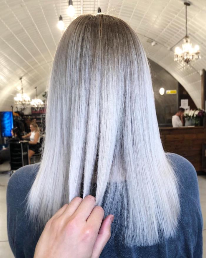 Shiny silver hair at hair salon in Clapham in London