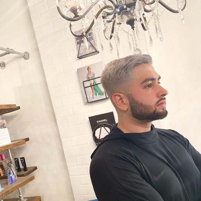Men's silver hair at Brixton hair salon barber in London