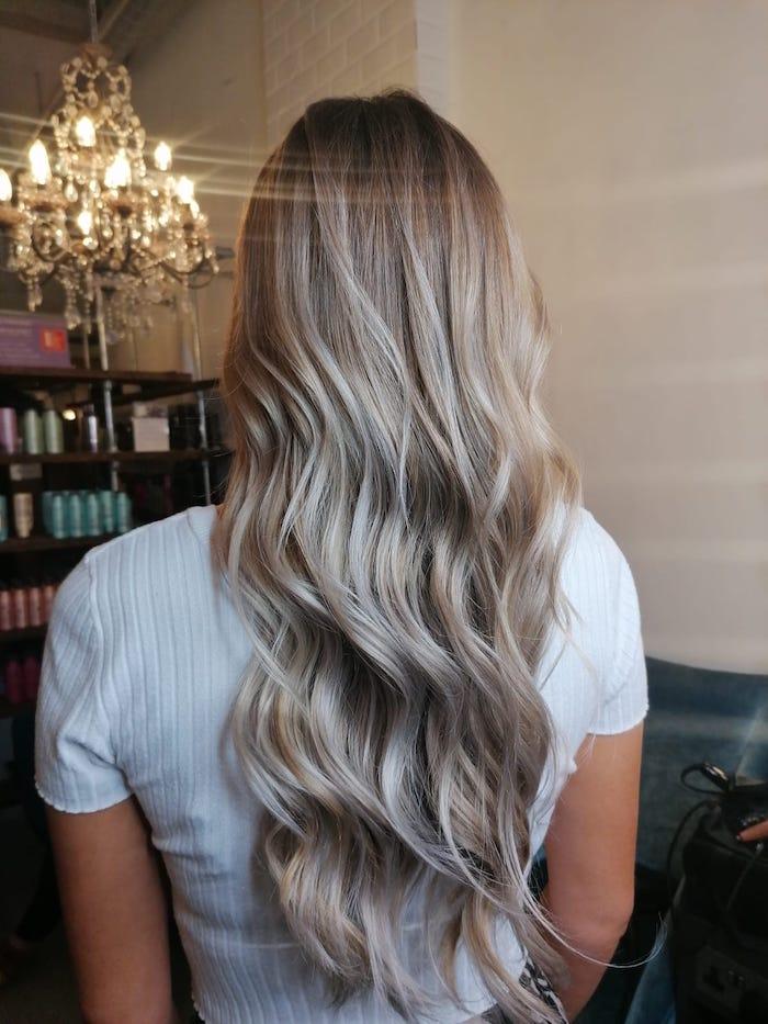 Ash blonde hair in hair salon Brixton