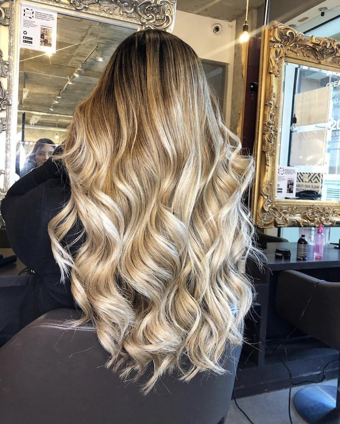 balayage London golden hair in hair salon in Nine Elms in London