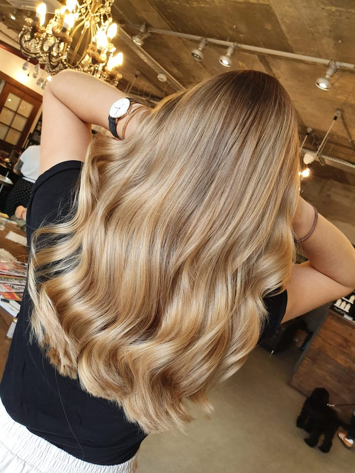 Creamy honey blonde at the Nine Elms salon in London
