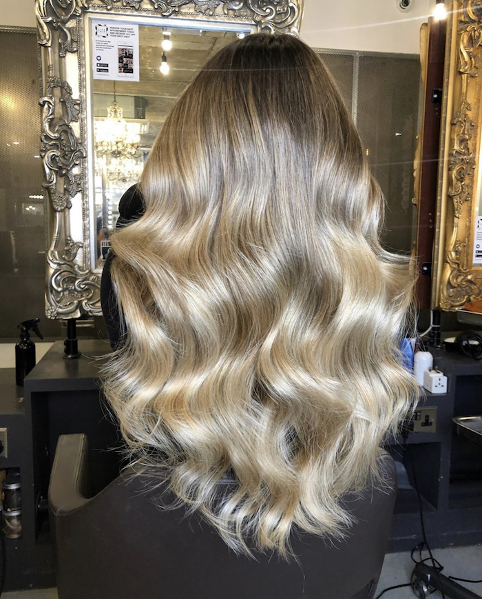 Autumn blonde balayage at salon in Nine Elms in London