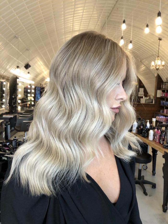 Autumn blonde balayage in London hair salon at Live True London