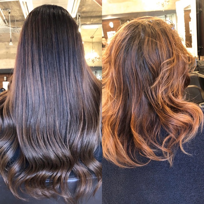 hair extensions balayage at a London salon, incredible transformation