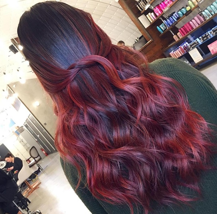 pretty in red balayage at clapham salon