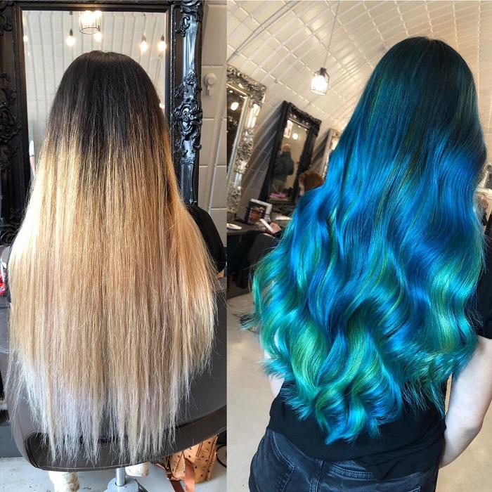mermaid hair look created at the Clapham salon