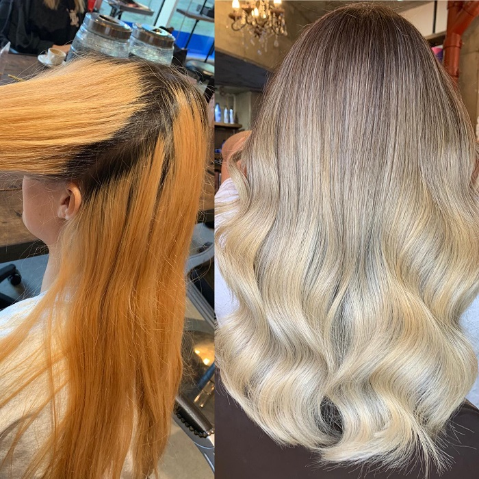 removing warm pigment to create a blonde colour at live true london