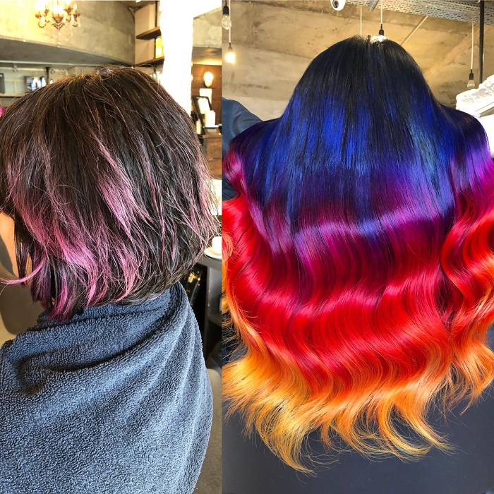 from short bob to long hair with vivid colour