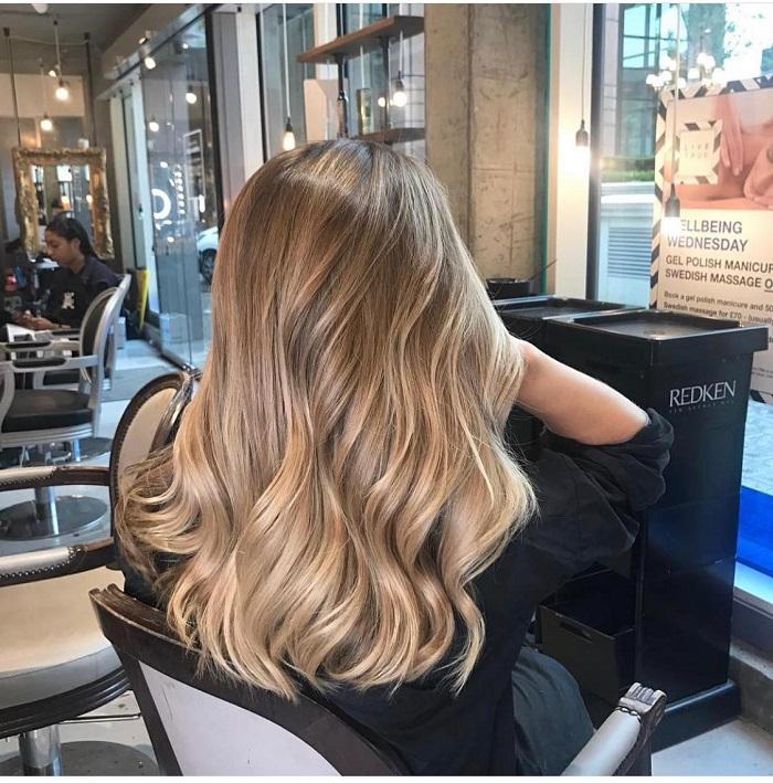 golden blonde balayage at the clapham salon
