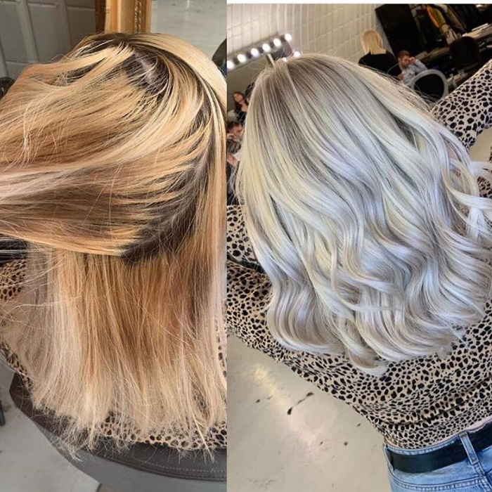 ash blonde transformation from unwanted pigments