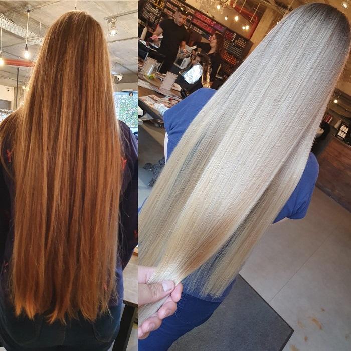 long hair colour using olaplex at vauxhall and nine elms