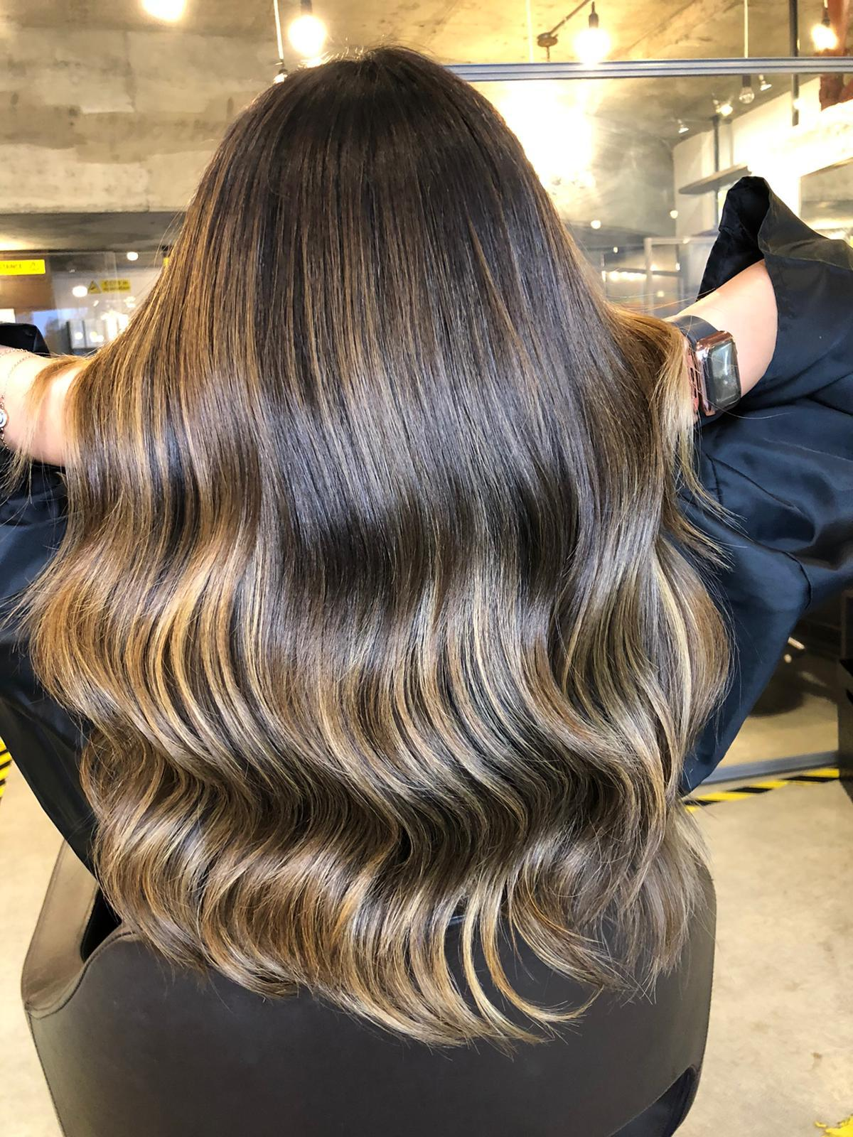 brunette balayage at London salon in Vauxhall and Nine Elms