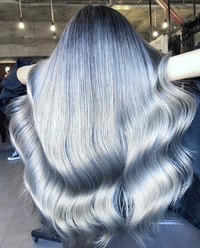 balayage and silver tones created at live true london
