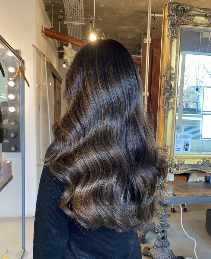 natural brown balayage for your spring parties