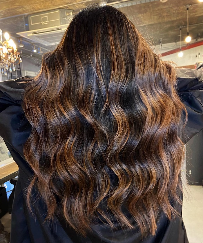 chocolate melt balayage technique created by live true london